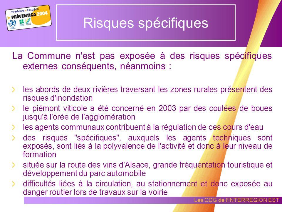 Risques spécifiques La Commune n est pas exposée à des risques spécifiques externes conséquents, néanmoins :