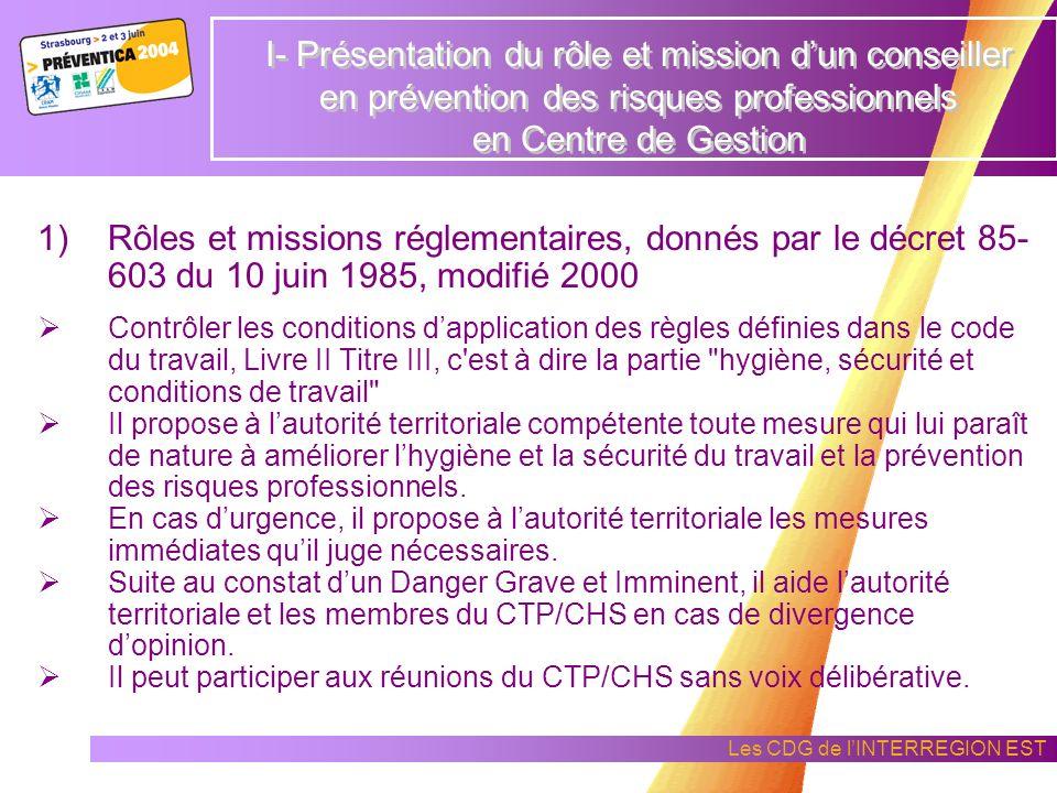 I- Présentation du rôle et mission d'un conseiller en prévention des risques professionnels en Centre de Gestion