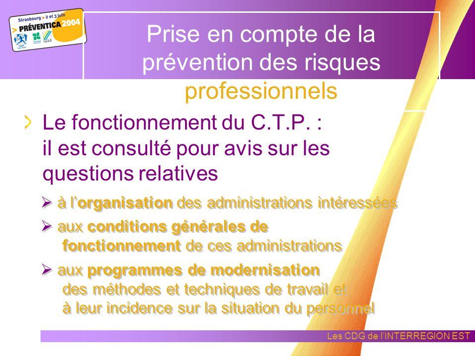 Prise en compte de la prévention des risques professionnels