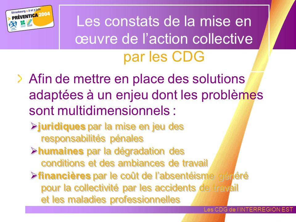 Les constats de la mise en œuvre de l'action collective par les CDG