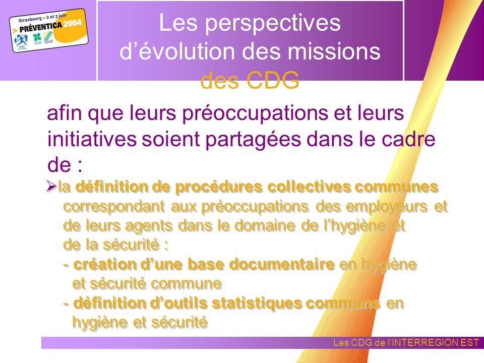 Les perspectives d'évolution des missions des CDG