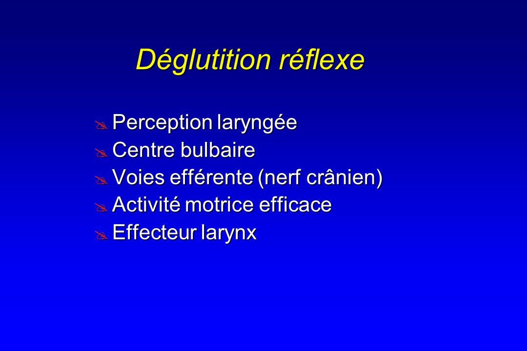Déglutition réflexe Perception laryngée Centre bulbaire