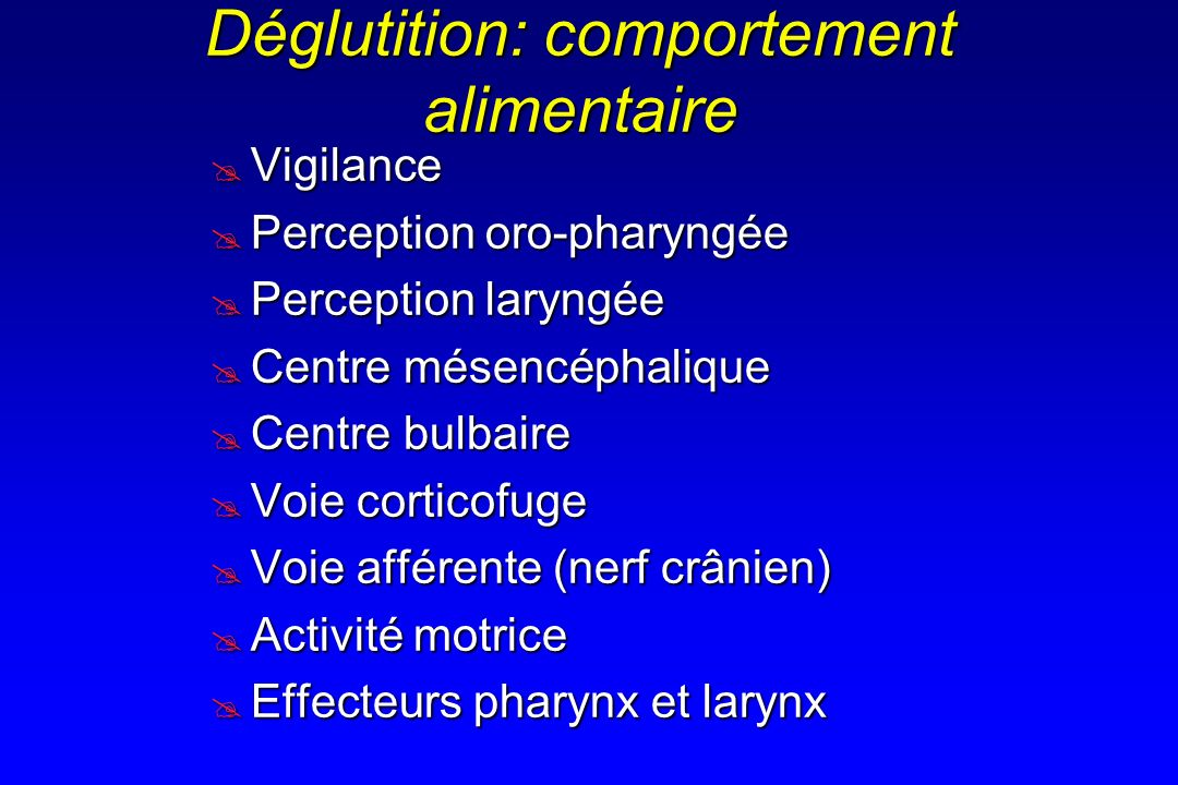 Déglutition: comportement alimentaire