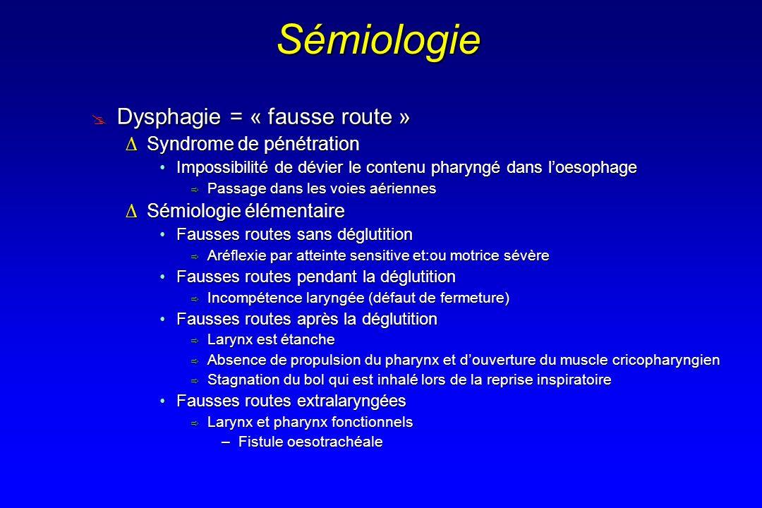 Sémiologie Dysphagie = « fausse route » Syndrome de pénétration