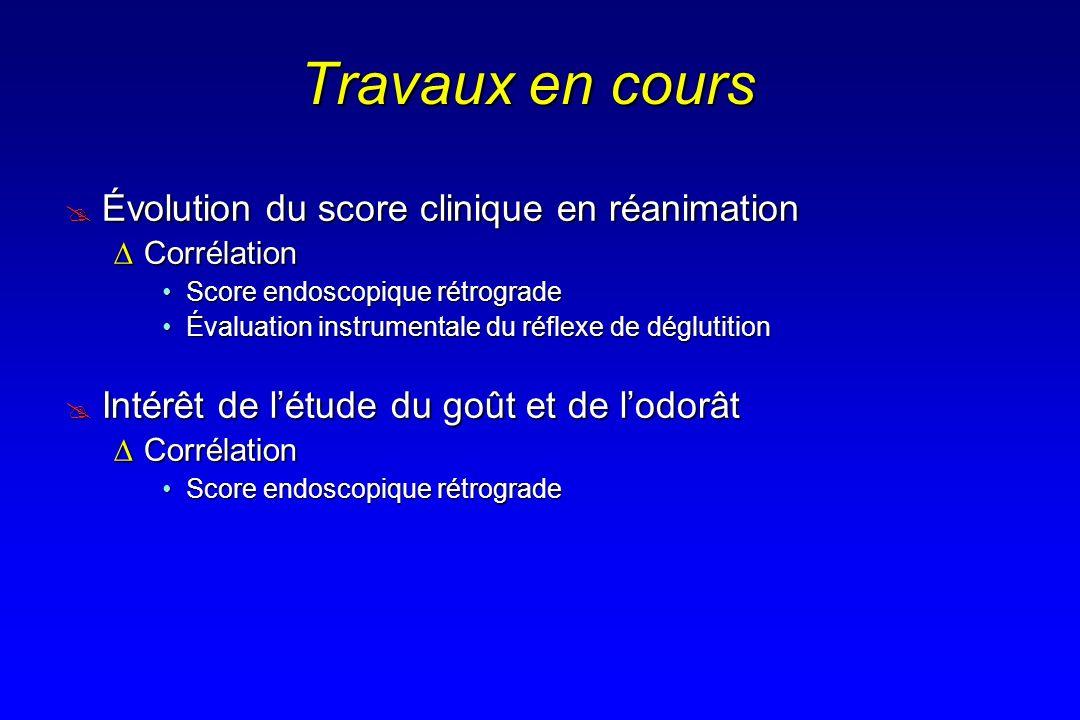 Travaux en cours Évolution du score clinique en réanimation