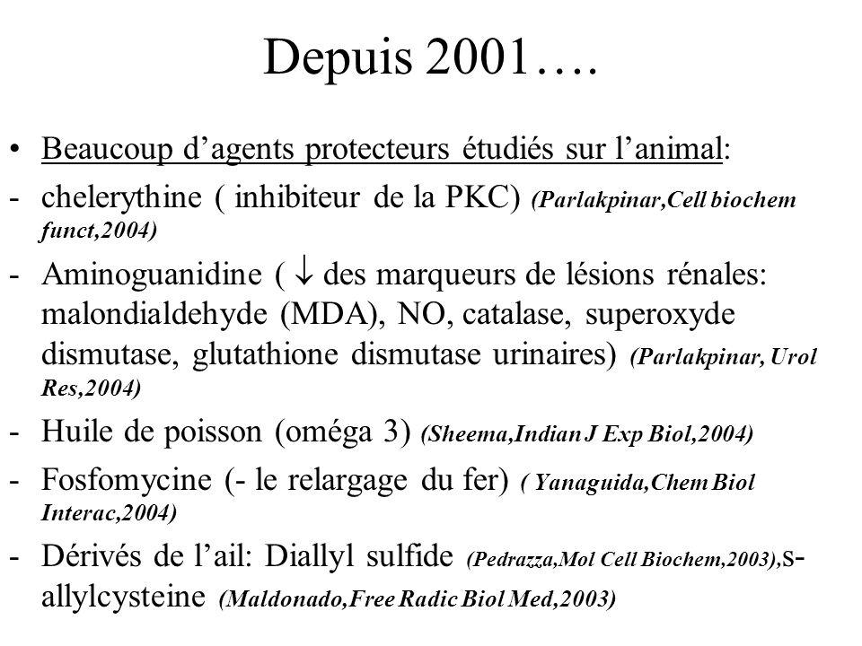 Depuis 2001…. Beaucoup d'agents protecteurs étudiés sur l'animal: