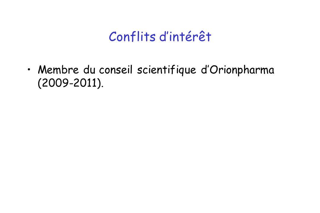 Conflits d'intérêt Membre du conseil scientifique d'Orionpharma (2009-2011).