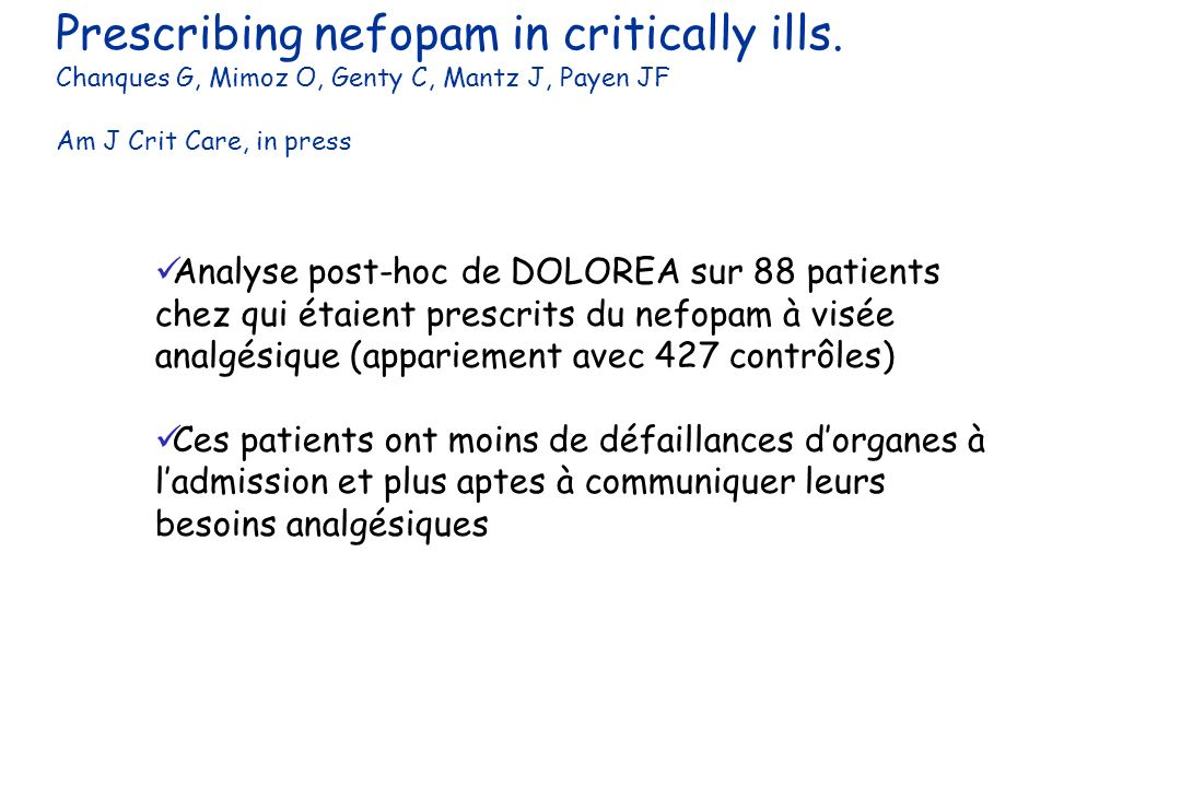 Prescribing nefopam in critically ills.