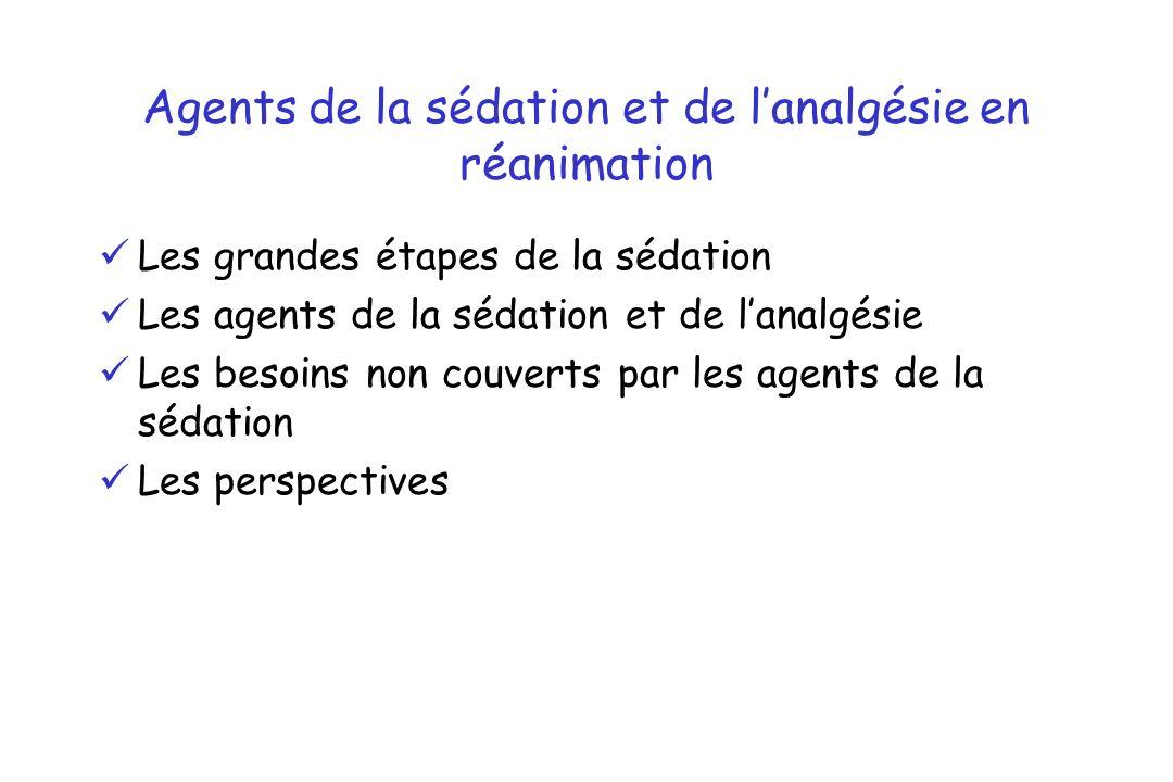 Agents de la sédation et de l'analgésie en réanimation