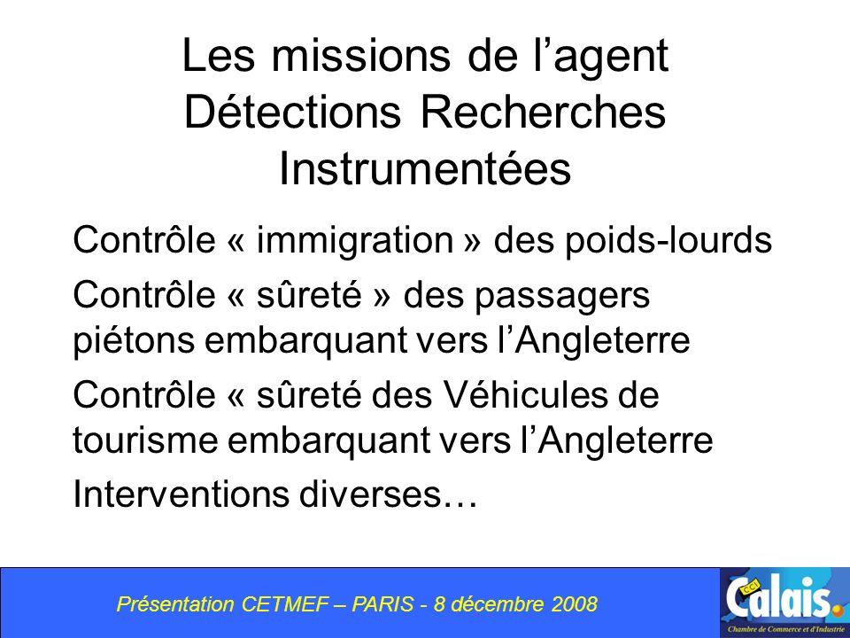 Les missions de l'agent Détections Recherches Instrumentées
