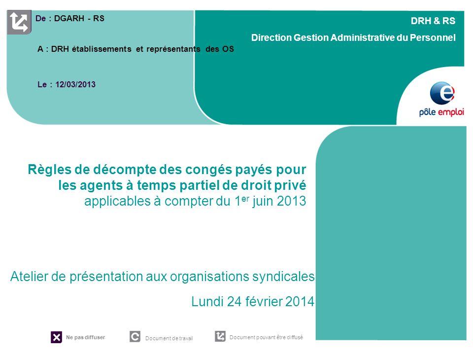 Règles de décompte des congés payés pour les agents à temps partiel de droit privé applicables à compter du 1er juin 2013