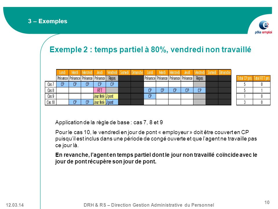 Exemple 2 : temps partiel à 80%, vendredi non travaillé