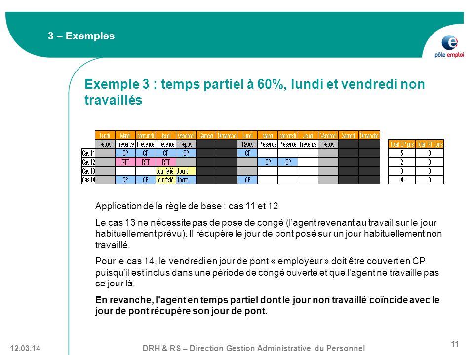 Exemple 3 : temps partiel à 60%, lundi et vendredi non travaillés