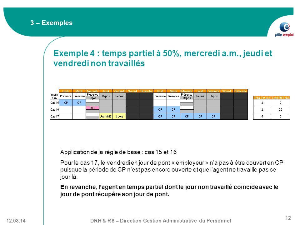 3 – Exemples Exemple 4 : temps partiel à 50%, mercredi a.m., jeudi et vendredi non travaillés. Application de la règle de base : cas 15 et 16.