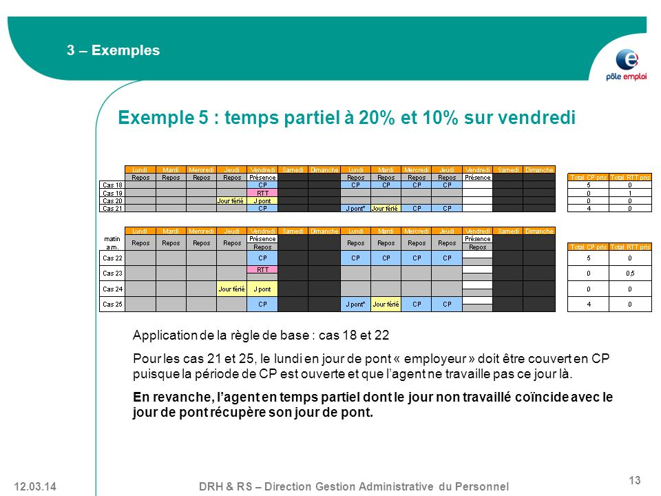 Exemple 5 : temps partiel à 20% et 10% sur vendredi