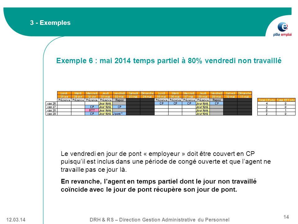 Exemple 6 : mai 2014 temps partiel à 80% vendredi non travaillé