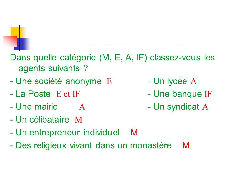 Dans quelle catégorie (M, E, A, IF) classez-vous les agents suivants