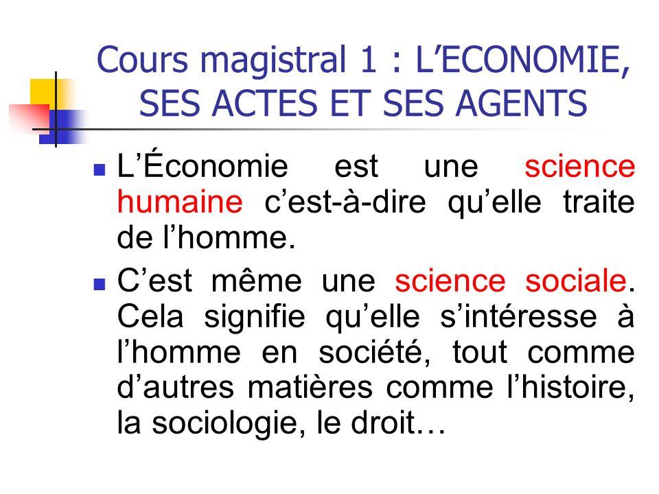 Cours magistral 1 : L'ECONOMIE, SES ACTES ET SES AGENTS