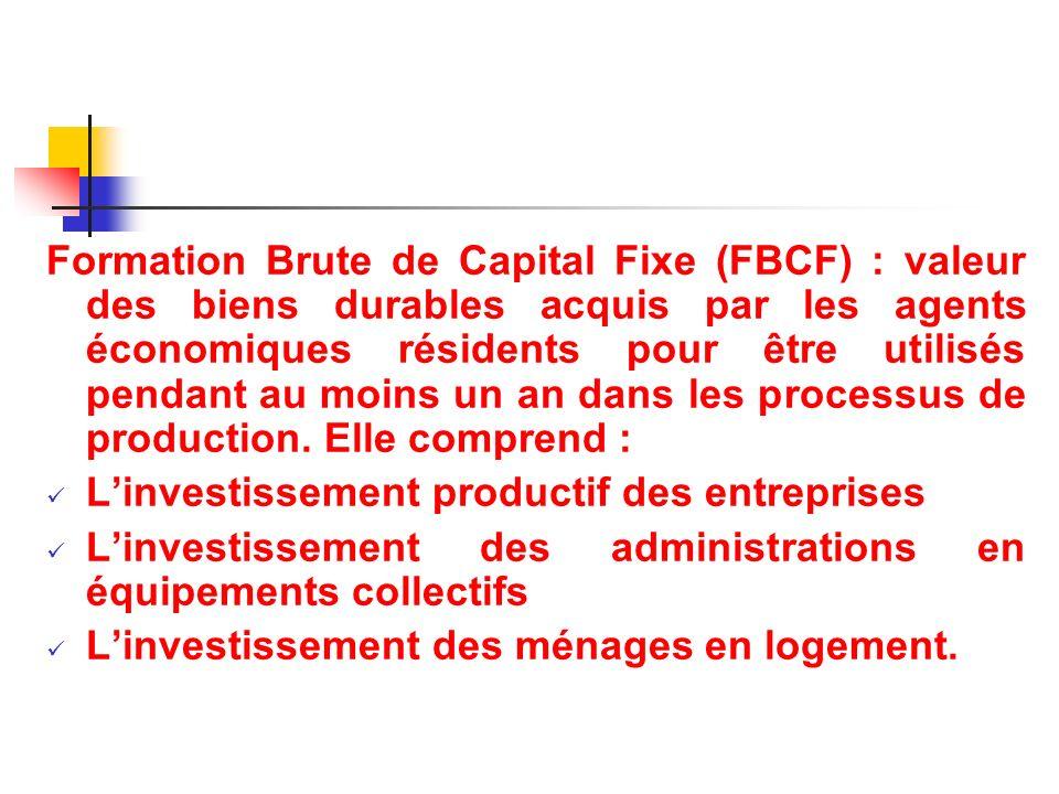 Formation Brute de Capital Fixe (FBCF) : valeur des biens durables acquis par les agents économiques résidents pour être utilisés pendant au moins un an dans les processus de production. Elle comprend :