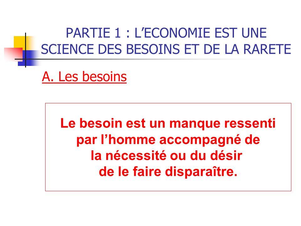 PARTIE 1 : L'ECONOMIE EST UNE SCIENCE DES BESOINS ET DE LA RARETE