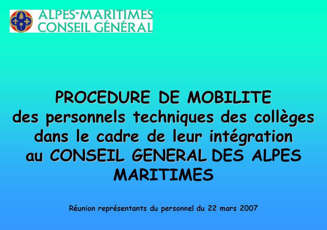 PROCEDURE DE MOBILITE des personnels techniques des collèges dans le cadre de leur intégration au CONSEIL GENERAL DES ALPES MARITIMES Réunion représentants du personnel du 22 mars 2007