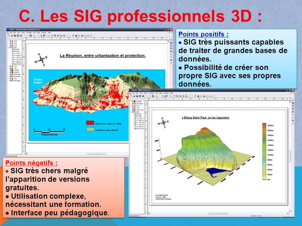 C. Les SIG professionnels 3D :