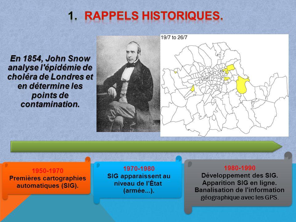 Rappels historiques. En 1854, John Snow analyse l épidémie de choléra de Londres et en détermine les points de contamination.