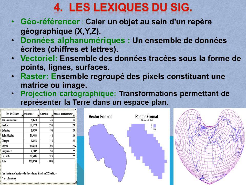 4. Les Lexiques du Sig. Géo-référencer : Caler un objet au sein d un repère géographique (X,Y,Z).