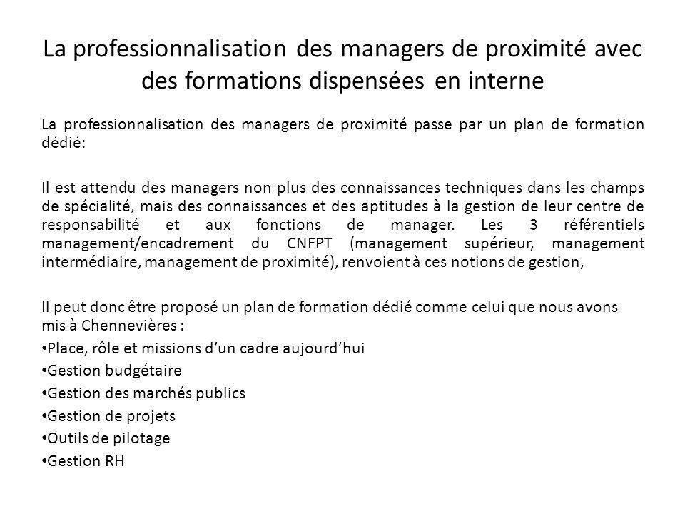 La professionnalisation des managers de proximité avec des formations dispensées en interne
