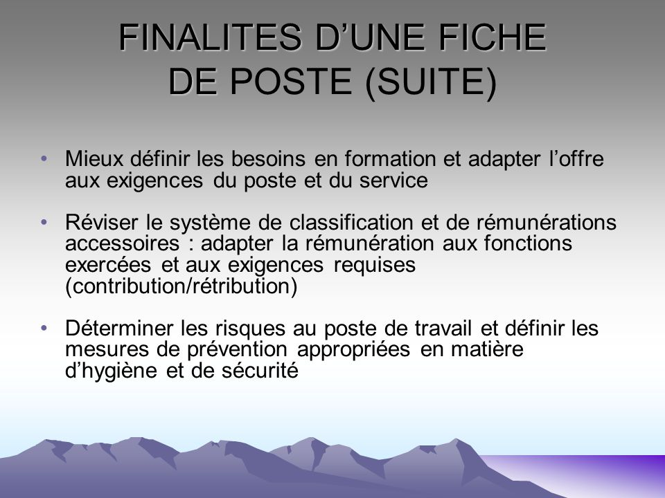 FINALITES D'UNE FICHE DE POSTE (SUITE)