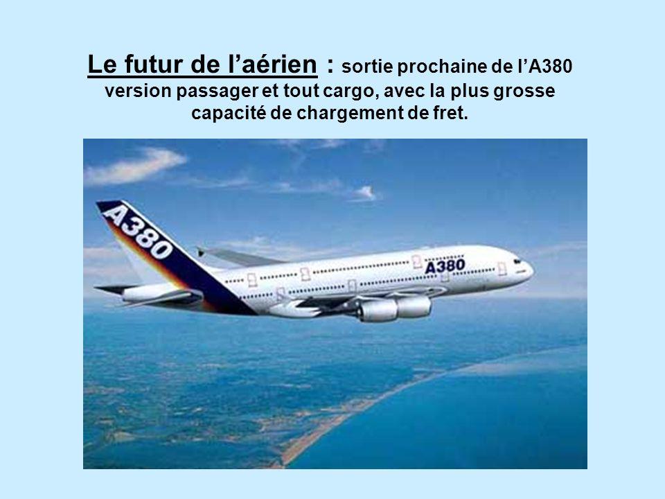 Le futur de l'aérien : sortie prochaine de l'A380 version passager et tout cargo, avec la plus grosse capacité de chargement de fret.