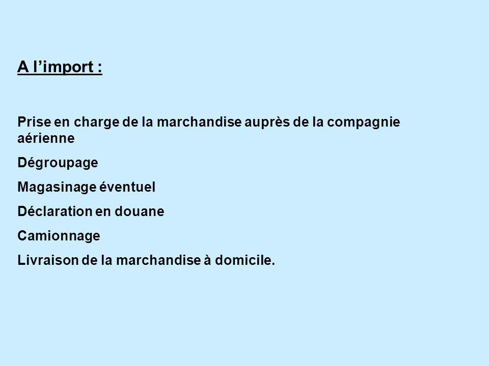 A l'import : Prise en charge de la marchandise auprès de la compagnie aérienne. Dégroupage. Magasinage éventuel.