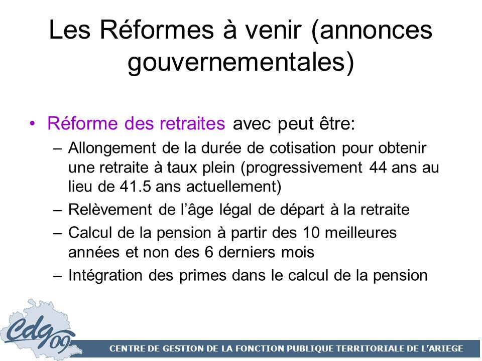 Les Réformes à venir (annonces gouvernementales)
