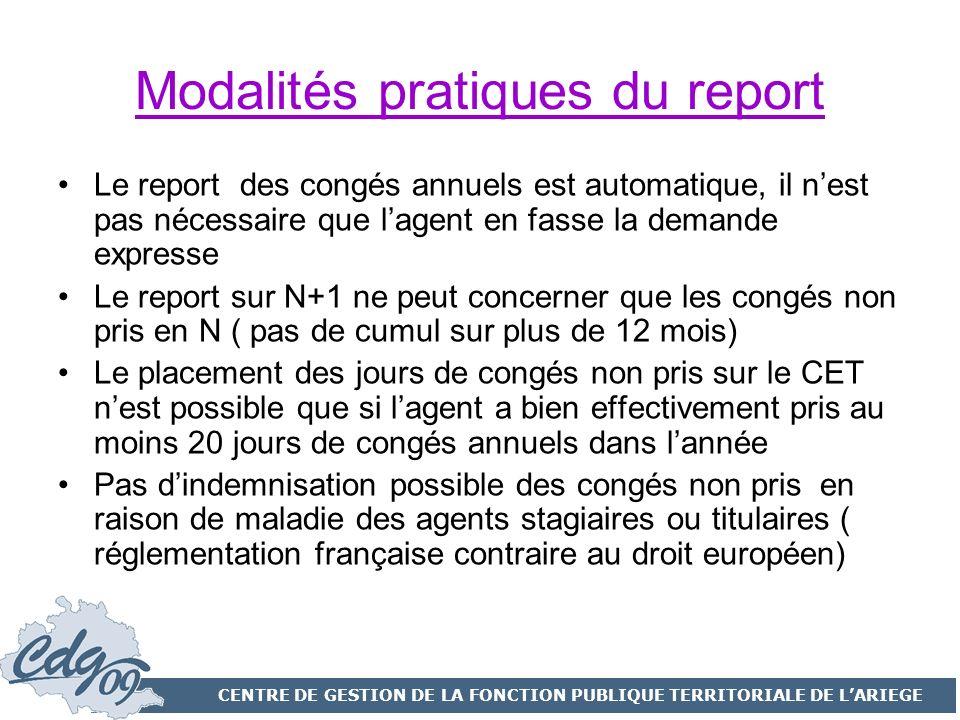 Modalités pratiques du report