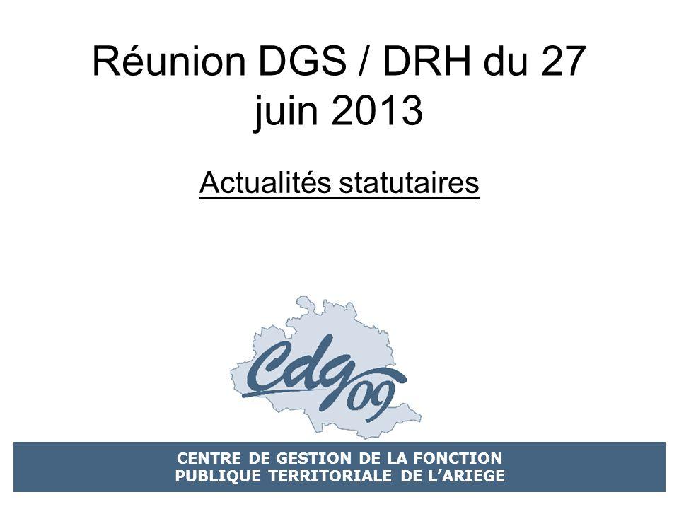 Réunion DGS / DRH du 27 juin 2013