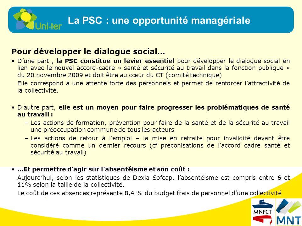 La PSC : une opportunité managériale