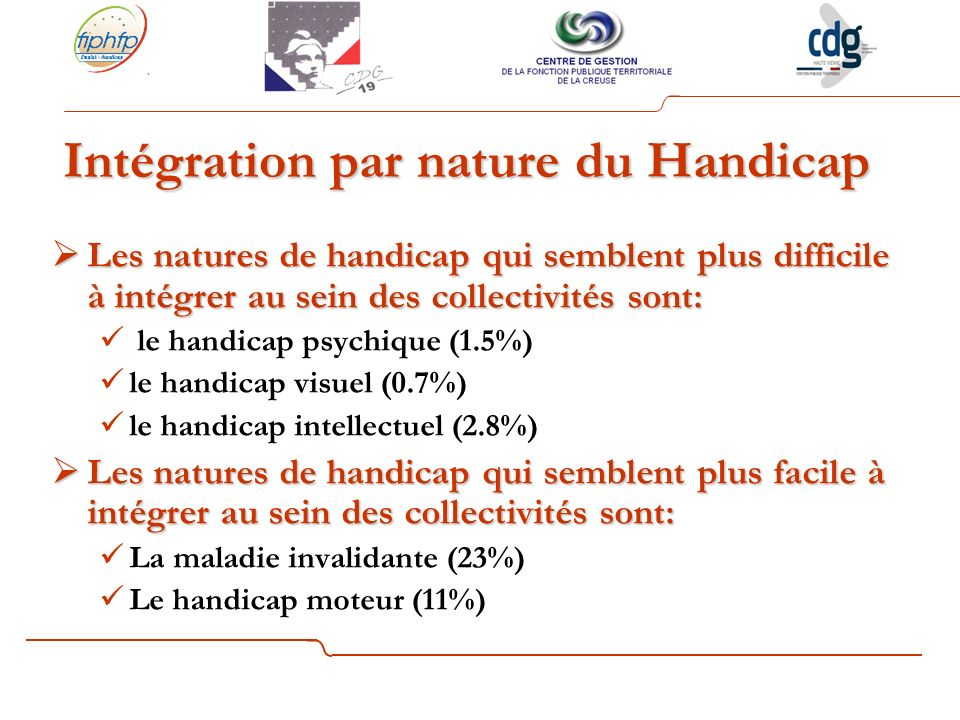Intégration par nature du Handicap