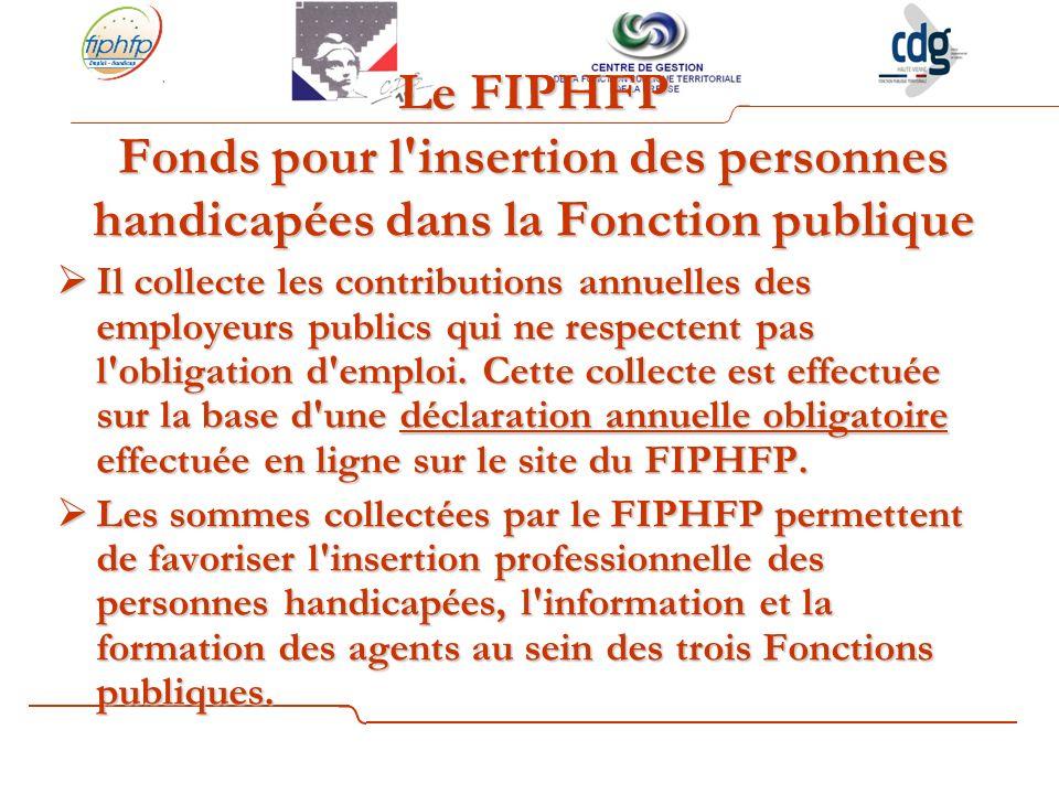 Le FIPHFP Fonds pour l insertion des personnes handicapées dans la Fonction publique