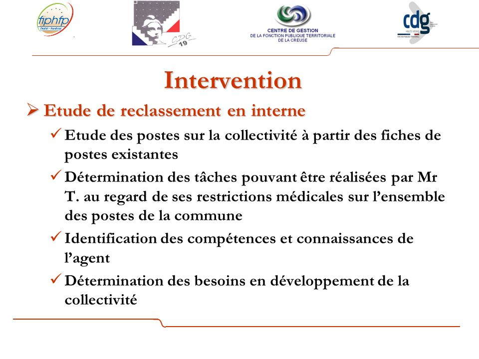 Intervention Etude de reclassement en interne