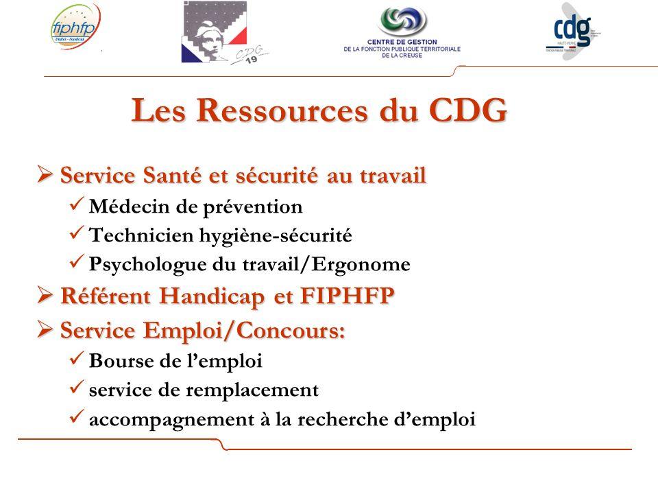 Les Ressources du CDG Service Santé et sécurité au travail