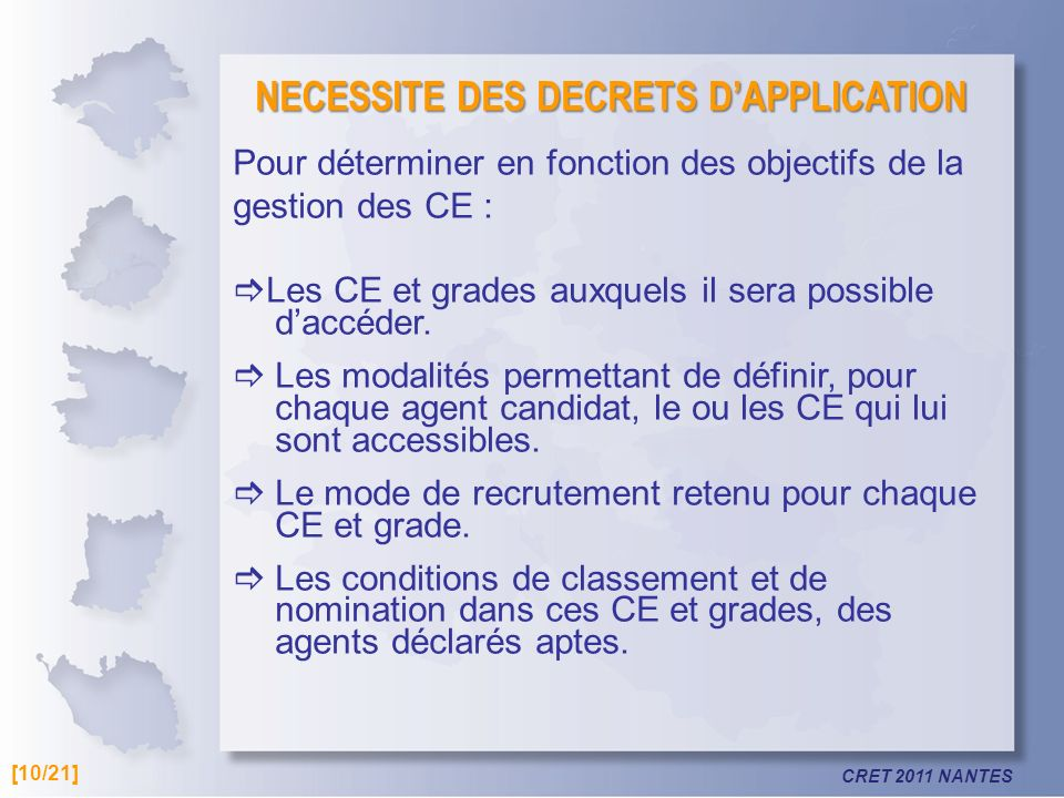 NECESSITE DES DECRETS D'APPLICATION
