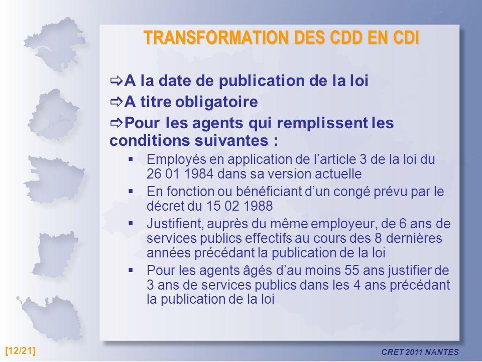 TRANSFORMATION DES CDD EN CDI