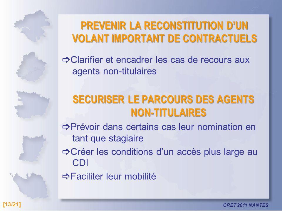 PREVENIR LA RECONSTITUTION D'UN VOLANT IMPORTANT DE CONTRACTUELS