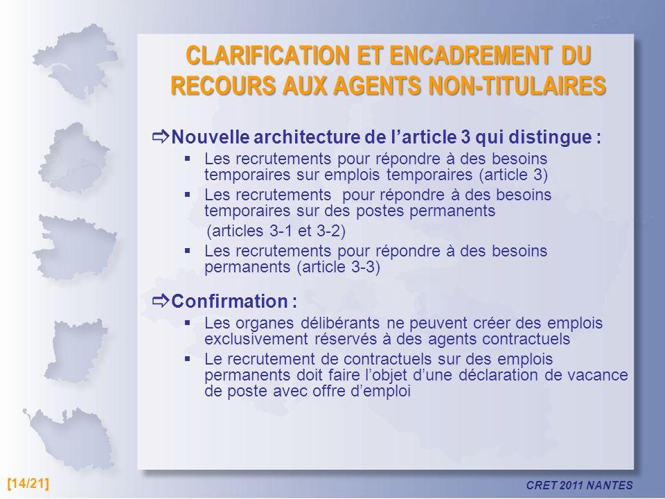 CLARIFICATION ET ENCADREMENT DU RECOURS AUX AGENTS NON-TITULAIRES