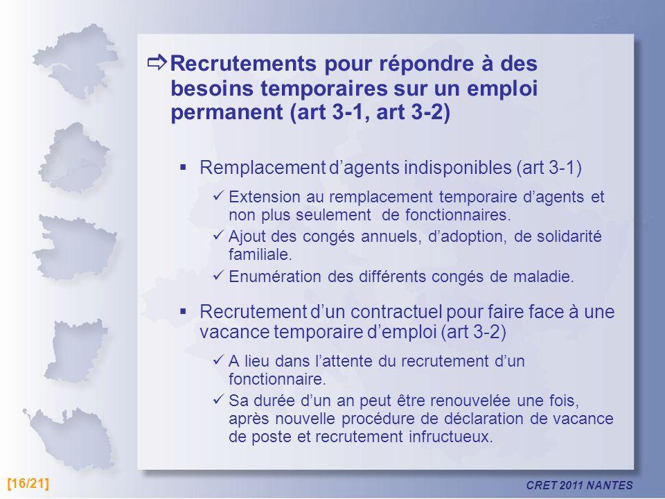Recrutements pour répondre à des besoins temporaires sur un emploi permanent (art 3-1, art 3-2)