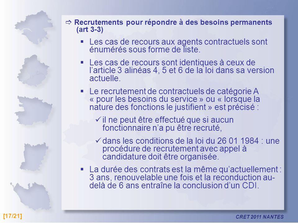  Recrutements pour répondre à des besoins permanents (art 3-3)