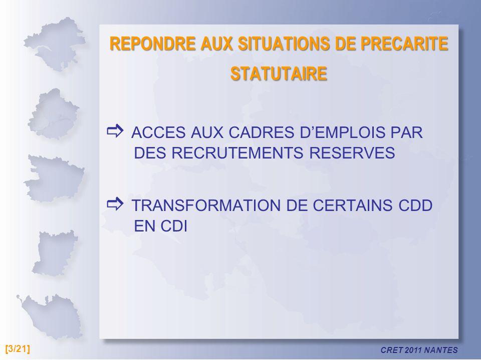 REPONDRE AUX SITUATIONS DE PRECARITE STATUTAIRE