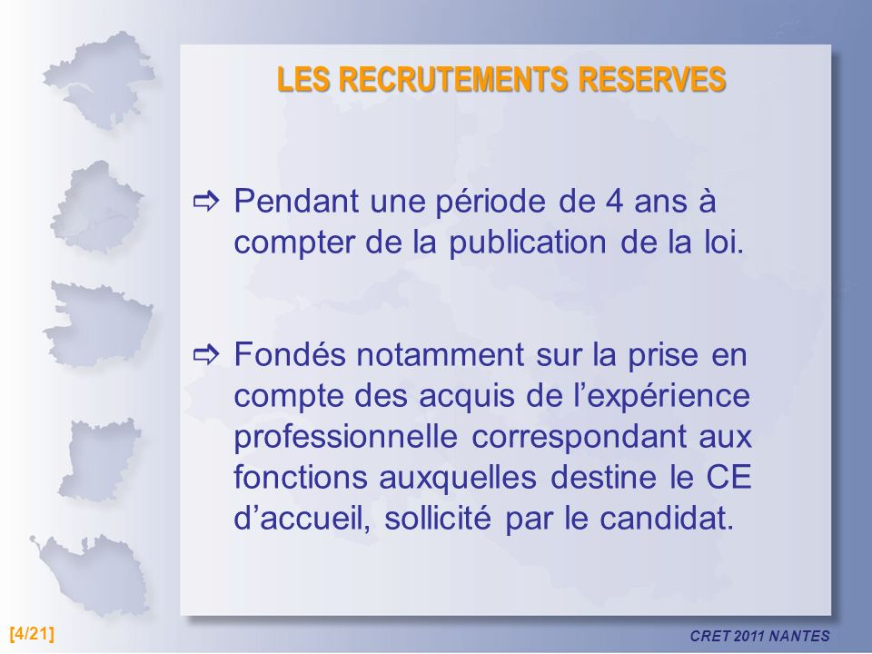 LES RECRUTEMENTS RESERVES