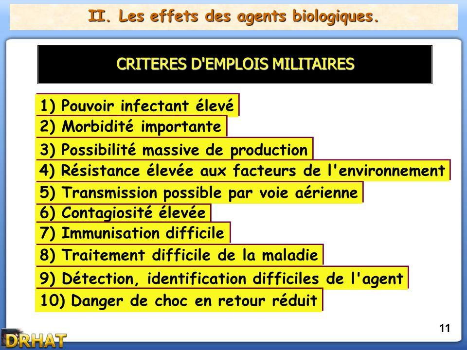 II. Les effets des agents biologiques.