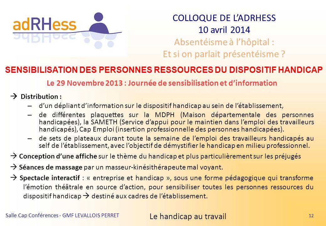 SENSIBILISATION DES PERSONNES RESSOURCES DU DISPOSITIF HANDICAP